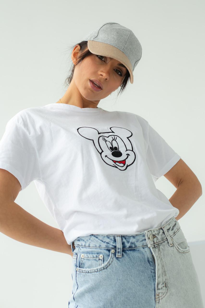 Женская футболка с вышивкой Микки Маус в белом цвете L