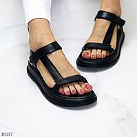 Крутые кожаные женские черные босоножки натуральная кожа на липучках