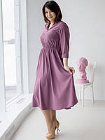 Лавандовое платье миди с рукавом три четверти размер 50-52