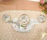 Винтажный фарфоровый трехрожковый подсвечник, фарфор с розами, Chodziez, Польша, прованс, фото 10