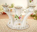 Винтажный фарфоровый трехрожковый подсвечник, фарфор с розами, Chodziez, Польша, прованс, фото 5