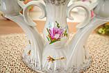 Винтажный фарфоровый трехрожковый подсвечник, фарфор с розами, Chodziez, Польша, прованс, фото 3