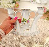 Винтажный фарфоровый трехрожковый подсвечник, фарфор с розами, Chodziez, Польша, прованс, фото 8
