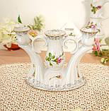 Винтажный фарфоровый трехрожковый подсвечник, фарфор с розами, Chodziez, Польша, прованс, фото 2