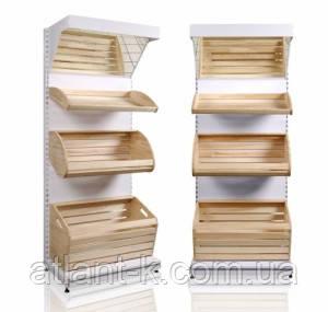 Стеллаж хлебный с деревянными корзинами