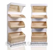Стелаж хлібний з дерев'яними кошиками