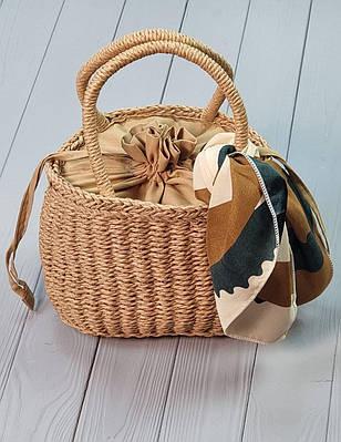 Женская модная соломенная сумка с платочком для городского и пляжного стиля Kamil brown