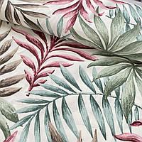Ткань декоративная с тефлоновой пропиткой с розовыми, зелёными, коричневыми листьями, ш. 180 см