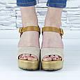 Босоножки женские бежевые на каблуке эко замша (b-678), фото 7