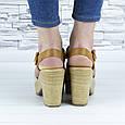 Босоножки женские бежевые на каблуке эко замша (b-678), фото 2
