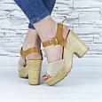 Босоножки женские бежевые на каблуке эко замша (b-678), фото 9
