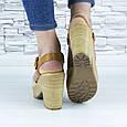 Босоножки женские бежевые на каблуке эко замша (b-678), фото 8