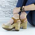 Босоножки женские бежевые на каблуке эко замша (b-678), фото 6