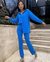 Модный женский летний брючный костюм с рубашкой оверсайз