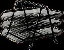 """Лоток для паперів горизонтальний """"3 в 1"""", металевий, чорний (BM.6252-01)"""