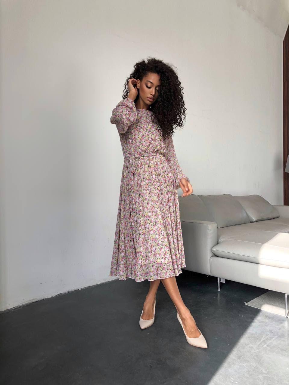 Сукня міді рожеві квіти