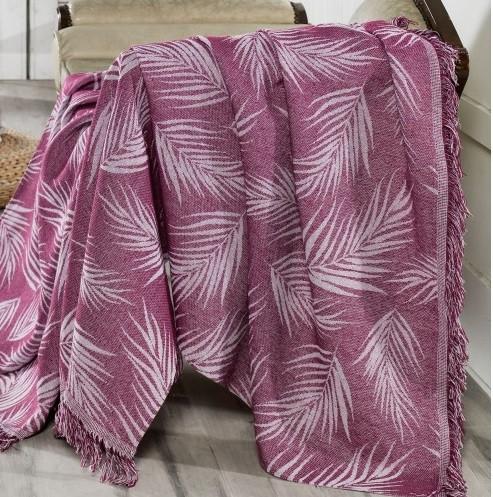 Плед-накидка Eponj Home Buldan Keten - Palmiye 170*220 mor пурпурный