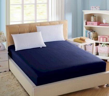 Простынь натяжная U-tek Home Sateen Dark Blue (темно-синий) 160х190 см