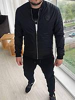 Мужская ветровка бомбер черная, весенняя мужская короткая куртка без капюшона демисезонная Philipp Plein