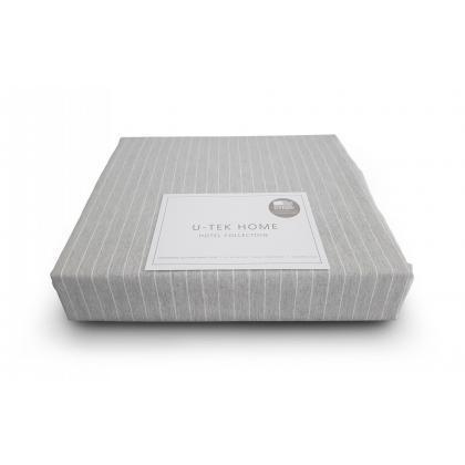 Простынь натяжная U-TEK Cotton Stripe Grey-White 200х220