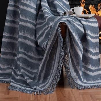Плед-накидка Eponj Home Buldan Keten - Desibel 170*220 petrol сіро-синій