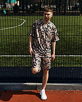 Модный летний мужской комплект, футболка мужская + шорты мужские мокко Саммер
