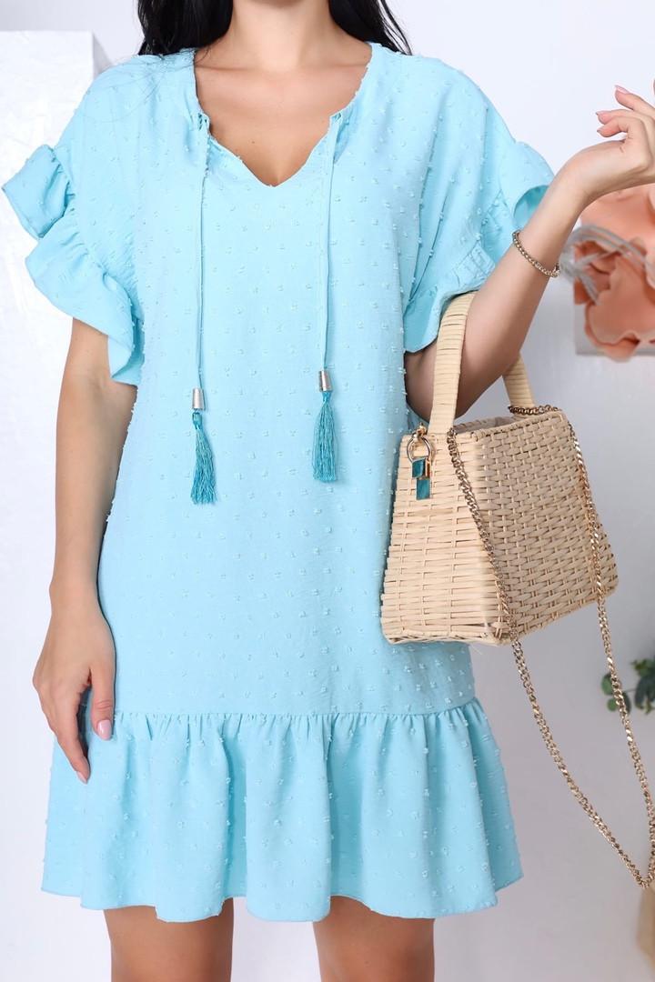 Женское платье, структурный креп - жакта, р-р 42-44; 46-48 (бирюзовый)