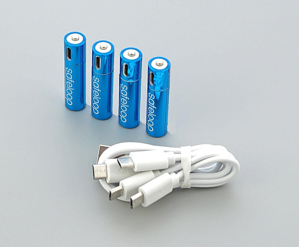 450 маг батарейка AAA safeloop з ЮСБ-зарядкою 4 шт вертикально