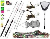 Набор на рыбалку для начинающих, 2 спиннинга 2.4 для большой рыбы + катушки, подсак и садок