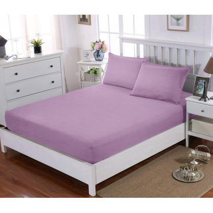 НАБОР Простынь натяжная 80x200 см + 2 наволочки 50x70 см Lilac