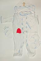 Крестильный набор 5 предметов белый с голубым на новорожденного 20,22,24 р  0-6 мес Украина.
