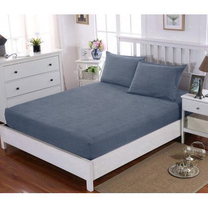 НАБОР Простынь натяжная 140x200 см + 2 наволочки 50x70 см Cotton Blue