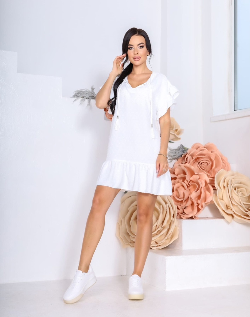 Женское платье, структурный креп - жакта, р-р 42-44; 46-48 (белый)