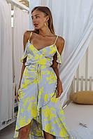 Сукня шовкова на запах в жовті квіти, фото 1