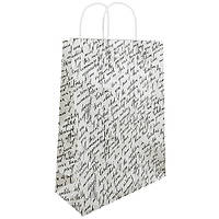 """(Цена за 12шт) Пакет подарочный крафт """"Письмо с печатью на белом"""" размер 24*37*10см, с ручками, с принтом,"""