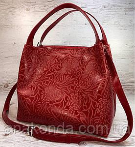 525-1-XL Натуральная кожа Сумка женская кожаная красная женская сумка из натуральной кожи с узором