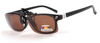 Поляризаційна накладка на окуляри RockBros коричнева велика