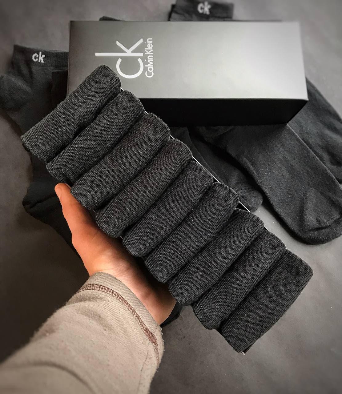 Набір коротких чоловічих шкарпеток Calvin Klein 9 пар чорних в подарунковій упаковці!