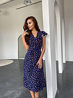 Платье на запах синие в цветы, фото 1