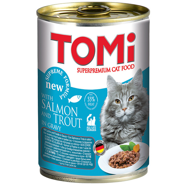 TOMi salmon trout ЛОСОСЬ ФОРЕЛЬ консерви для котів, вологий корм