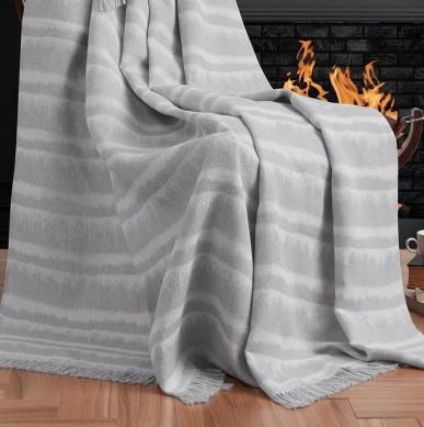 Плед-накидка Eponj Home Buldan Keten - Desibel 170*220 gri сірий