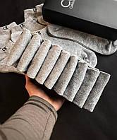 Набор коротких мужских носков Calvin Klein 9 пар серых в подарочной упаковке!, фото 3