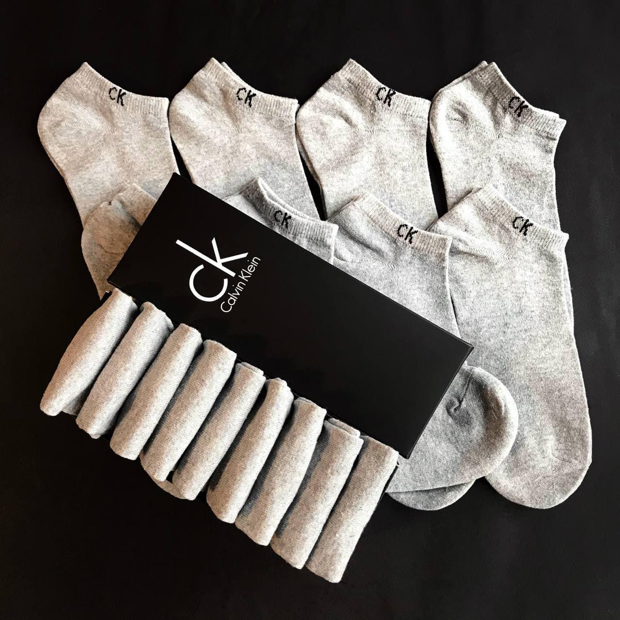 Набор коротких мужских носков Calvin Klein 9 пар серых в подарочной упаковке!