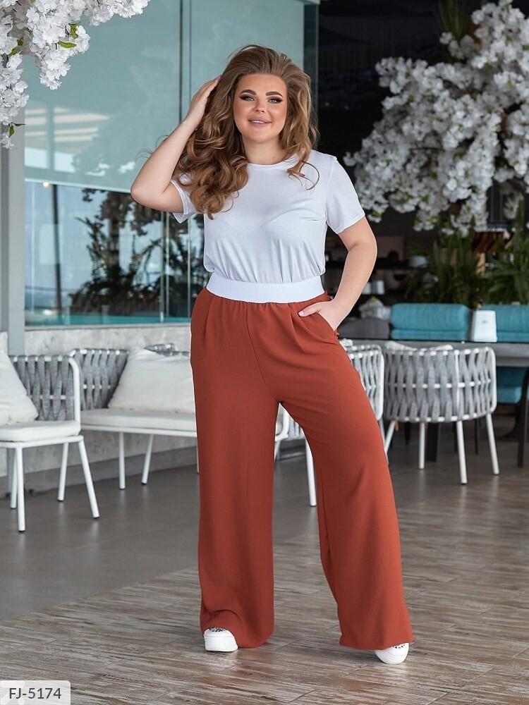 Прогулочный костюм женский летний легкий брюки с футболкой больших размеров 48-62 арт. 1448