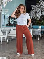 Прогулочный костюм женский летний легкий брюки с футболкой больших размеров 48-62 арт. 1448, фото 1