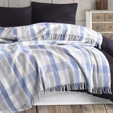 Плед Eponj Home - Ekose 150*200 Mavi-gri блакитний-сірий