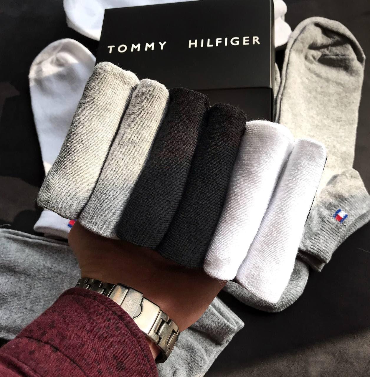 Набор коротких мужских носков TOMMY HILFIGER 6 пар в подарочной упаковке! Реплика!