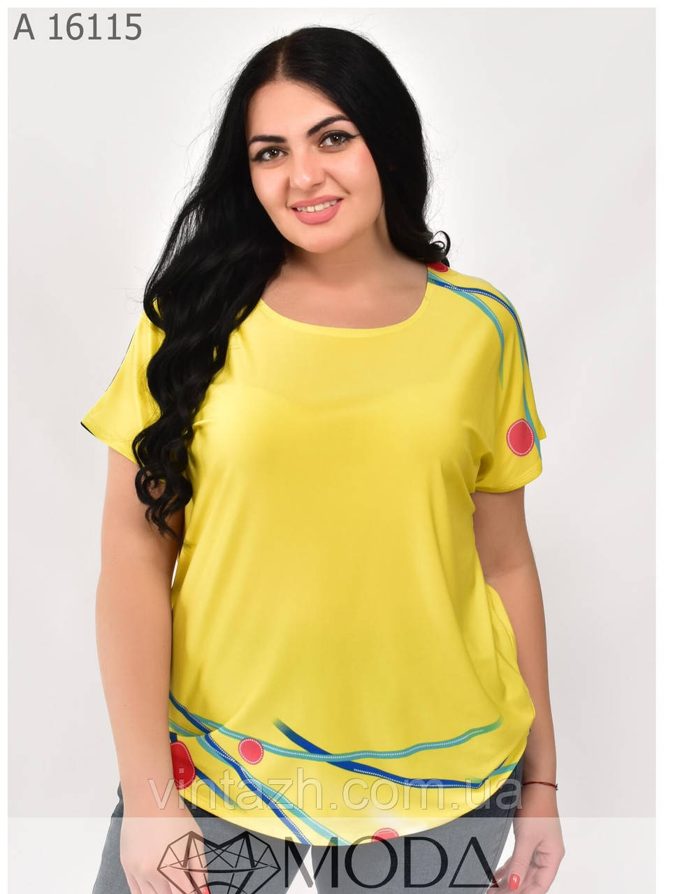 Яркая женская футболка на лето размеры 48-56