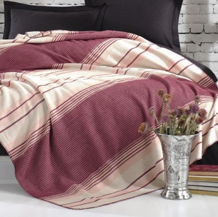 Плед Eponj Home - Cizgili 150*200 Visne вишневый