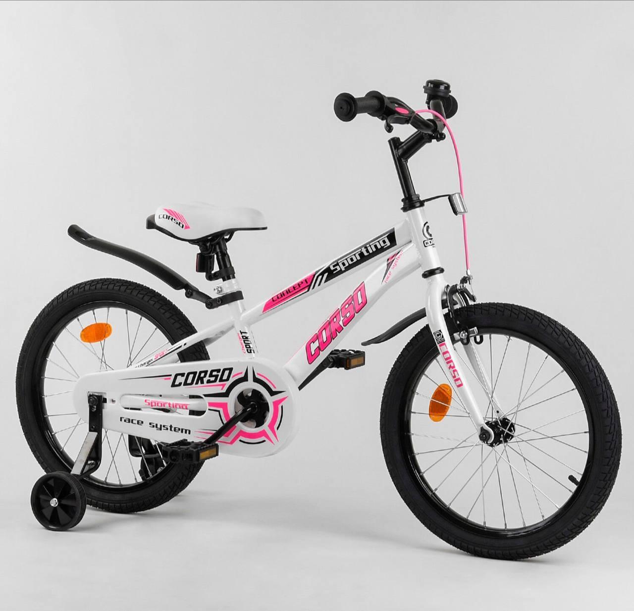 Двухколесный велосипед Corso R на 18 дюймов Бело-розовый